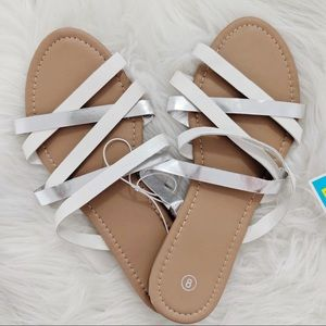 Brand New Silver And White Sandals